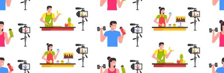 Seamless pattern with bloggers Man and Woman. Food blogger, Athletic blogger. Making a video. flat style. isolated on white background