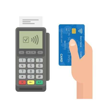 Contactless Payment Concept. Pos terminal confirms the payment by credit card