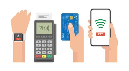 Contactless Payment Concept. Pos terminal confirms the payment by smartphone, credit card, smart watch.