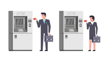 People using ATM. Business man and woman using card at an ATM. ATM payment. isolated on white background
