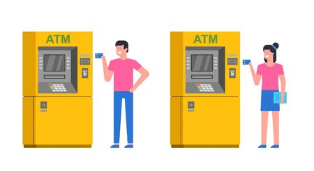 People using ATM. man and woman using atm to withdraw cash. ATM payment. isolated on white background