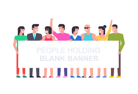 Group of people holding blank banner. Flat Style