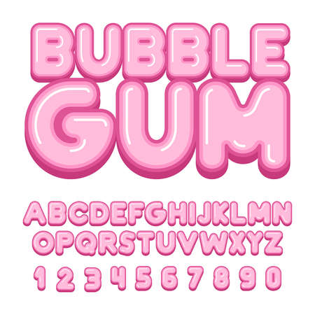 Bubble Gum font, alphabet, letters and numbers. flat style