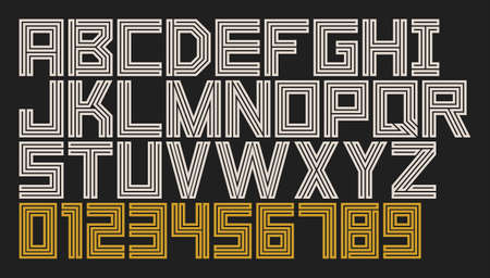 Linear font. Minimalistic alphabet with thin lines. Flat Style