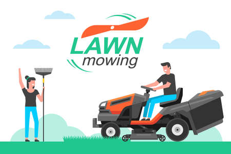 Man driving a tractor lawn mower in garden. mowing lawn. flat style