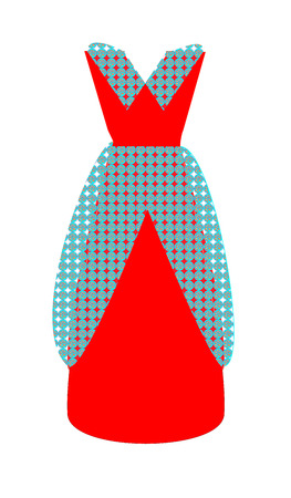 red dress with guipure trimmings Иллюстрация