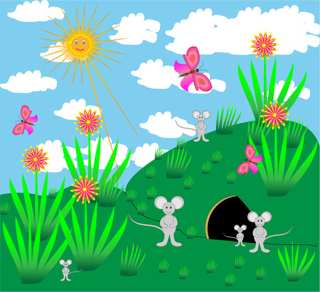 mouse hole: beautiful summer sunny day vector