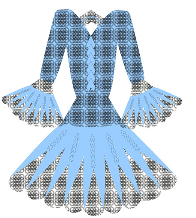 guipure: blue dress with black guipure vector Illustration
