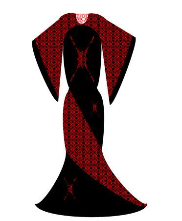 inset: long evening dress red vector