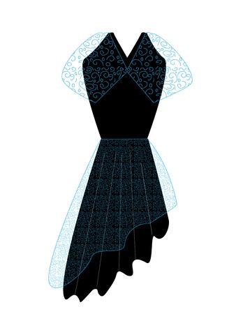 trim: black dress with trim azhyurnoy