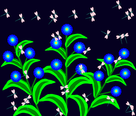 dragonflies: dragonflies dance the night over flowers Illustration