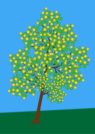 lonely tree: lonely tree with flowers vector