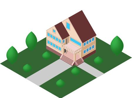 on the balcony: house with a balcony vector