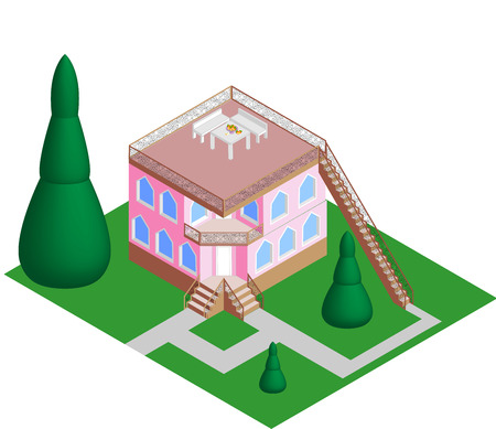 flat roof: house with a flat roof vector