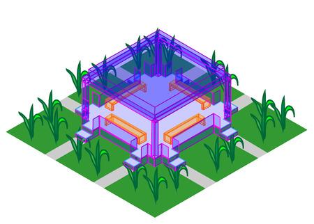 bright: bright unusual gazebo glass vector Illustration