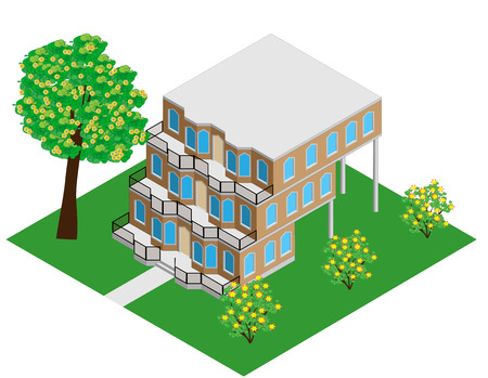 storey: an unusual three storey office vector Illustration