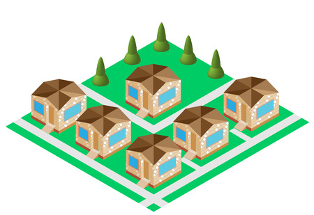 agro: cozy houses agro town vector Illustration