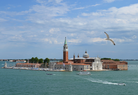 giorgio: View of the island and the Cathedral of San Giorgio Maggiore. View from the Palace of the Doges, Venice, Italy Stock Photo