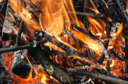 cosiness: hot coals from the burnt wood
