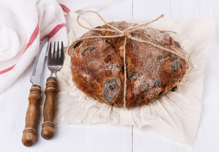 crusty: Crusty bread on a white wooden background