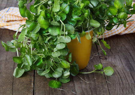 Bunch of watercress on a rustic wooden background. Selective focus