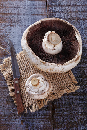 giant mushroom: Giant mushroom and a smaller one over rustic wooden background Stock Photo