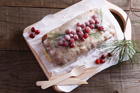 pound cake: Cranberry pound cake with fresh cranberries over rustic wooden background Stock Photo