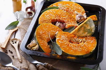 sesame seed: Cooking pumpkin with garlic, sage, sesame seed and spices