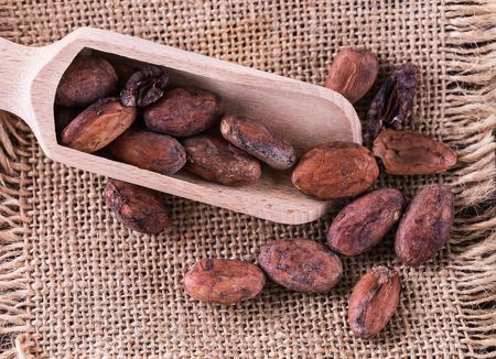 木製スクープ黄麻布の背景の上に生のカカオ豆。上面図、クローズ アップ 写真素材