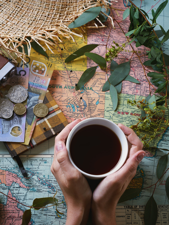 Flat lay image of travelling to Australia concept. Retro effect, color toning, lifted shadows