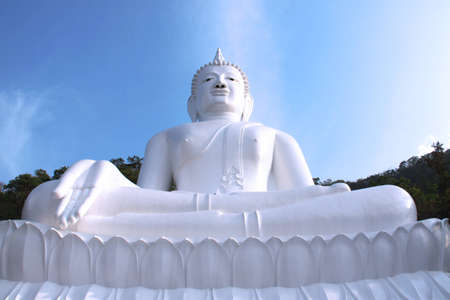 the close up picture of white buddha  photo