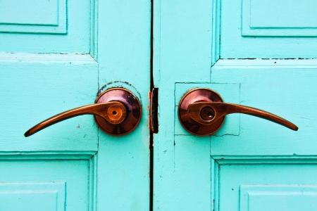 Wooden door background with handle Stock Photo - 19105249