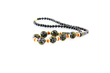 Wooden painted beads , an accessory for trendy girls. photo