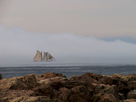 traverse: A majestic sailboat drifting through the mist on Traverse Bay