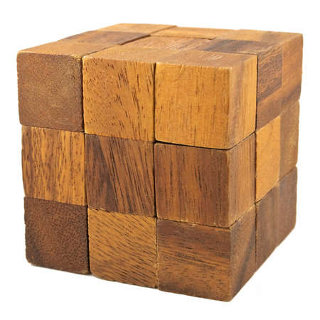 disjoint: Wooden cube logical game isolated on white background