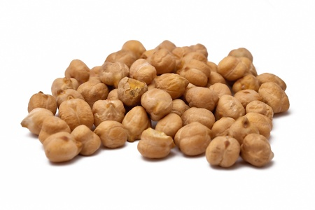 A handful of chickpeas isolated on white background