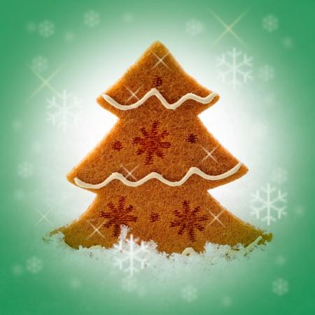 Felt Christmas tree with snowflakes photo