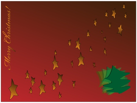 Christmas background with stars and fir tree, EPS10 Vector