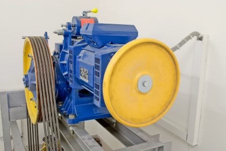Elevator engine room with elevator motor