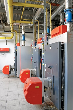 Industrial boiler room with gas boilers