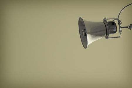 publicity: Shabby old loudspeaker with lots of copyspace Stock Photo