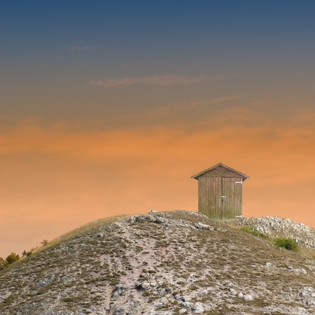 singly: Lonely shelter on the hilltop