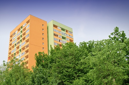 dwell: Block of flats with energy saving wall insulation Stock Photo