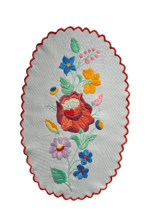 Traditional Hungarian embroidery isolated on white background