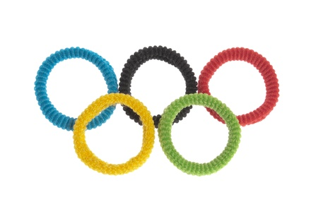 Five Scrunchies in Olympic Colors Isolated on White Background