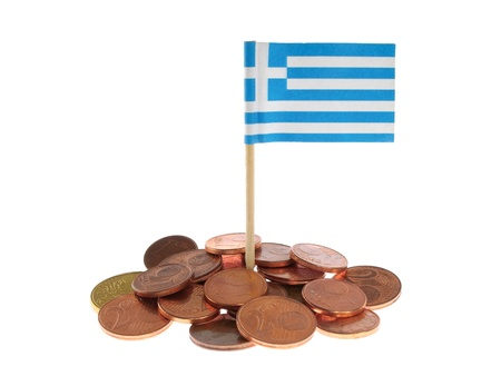 Greek Flag With Euro Coins Isolated on White Background