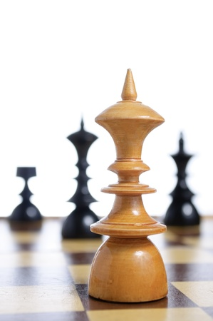 Chess board with figures on white background Stock Photo - 13882150