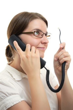 phone operator: Businesswoman with Phone Receiver and cord on white background