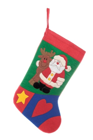 Christmas sock with Santa and Rudolph isolated on white background photo