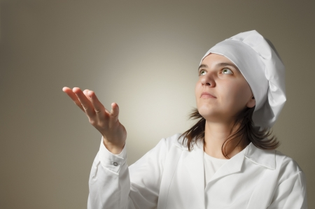 Desperate chef woman asking God to give food Stock Photo - 16986463